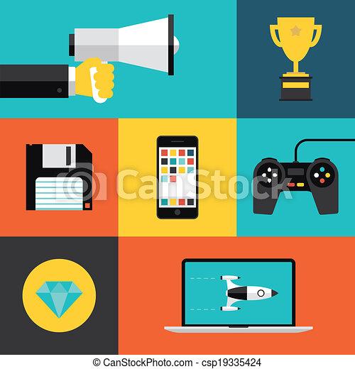 Vektor illustration von wohnung satz spiele spielende for Meine wohnung click design download