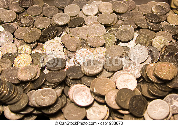 Pile of GB coinage - csp1933670