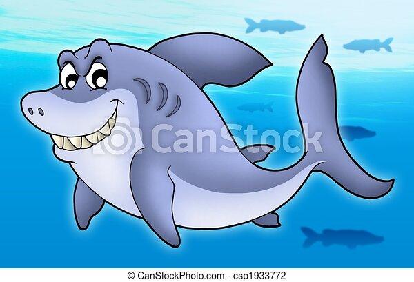 Smiling cartoon shark - csp1933772