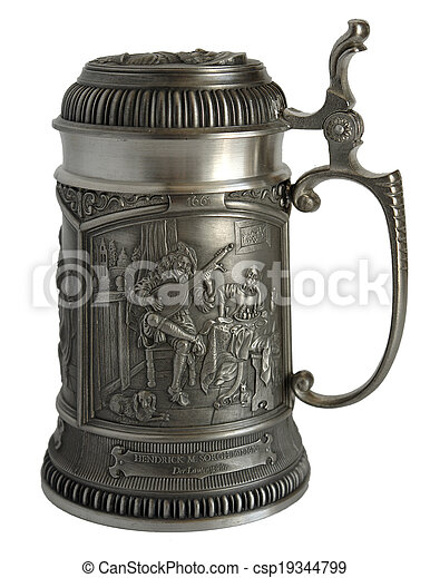 Pewter beer tankard with bas-relief - csp19344799