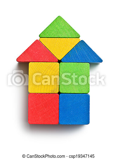 house made from wooden toy blocks - csp19347145