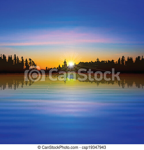 abstract background with forest lake - csp19347943