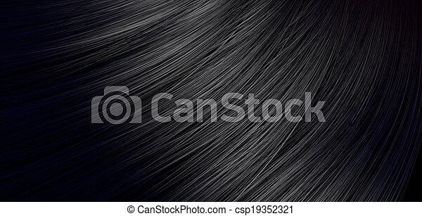 cabelo, pretas, soprando, closeup - csp19352321