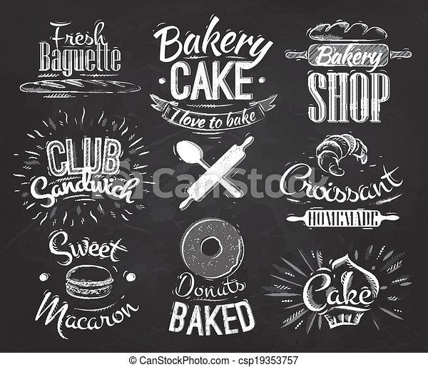 Vecteur clipart de boulangerie caract res craie - Dessin a la craie ...