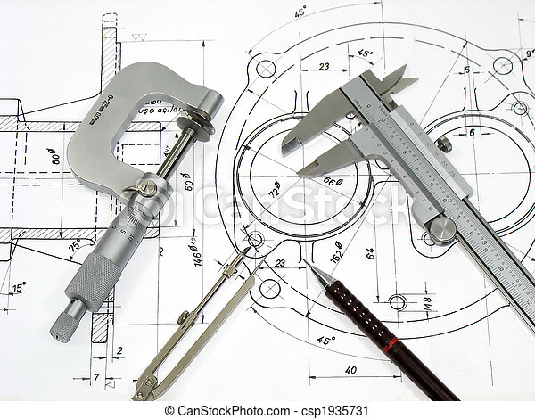 Engineering tools on technical drawing - csp1935731