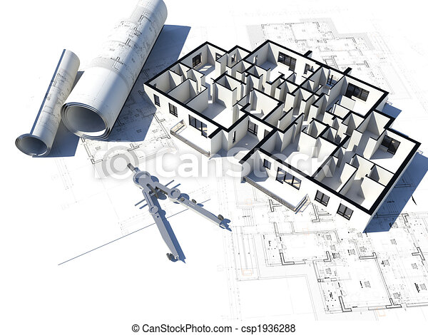 3D image of a floor plan and some blueprints - csp1936288