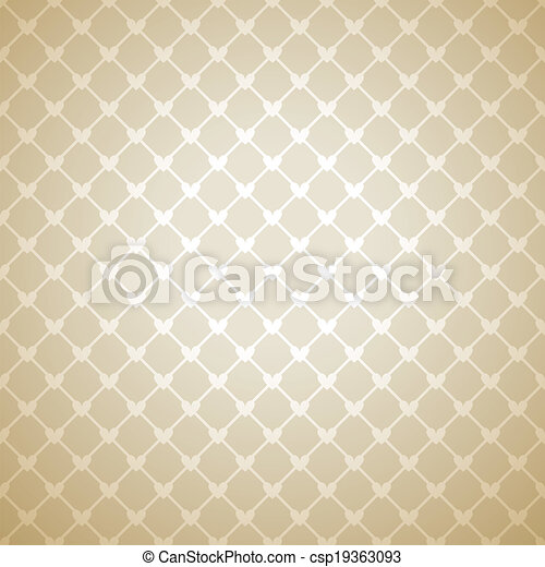 Beige cloth texture background. Vector illustration for your warm confident design. Book and wall cover. Fabric bright romantic canvas wallpaper with delicate heart lace pattern. - csp19363093
