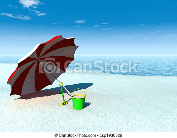 illustration de soleil parasol seau b che plage a soleil parasol csp1936329. Black Bedroom Furniture Sets. Home Design Ideas