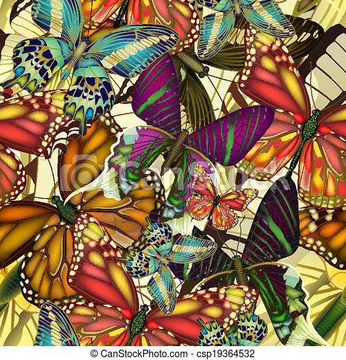 Seamless pattern colorful butterflies.  EPS10 - csp19364532