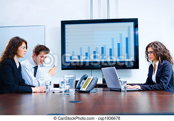 reunión, habitación, empresa / negocio, tabla - csp1936678