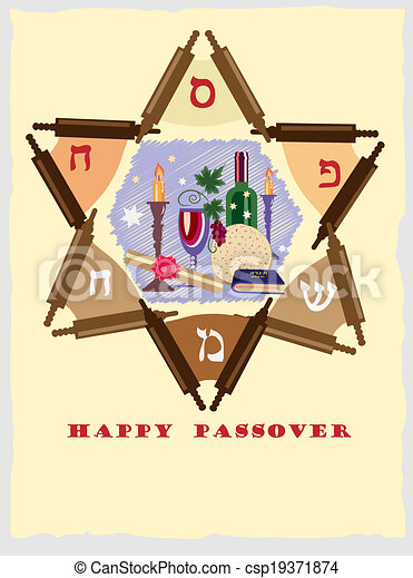 passover , jewish star with objects. - csp19371874