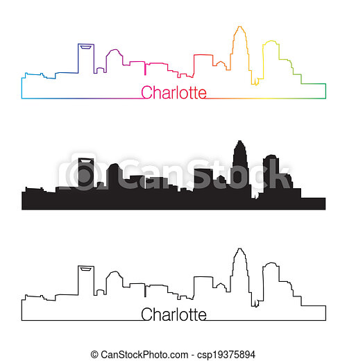 EPS Vectors of Charlotte skyline linear style with rainbow in editable ...