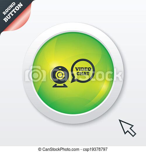 icon. Webcam video speech bubble symbol. Website webcam talk. Green ...