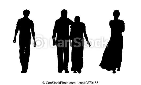 illustration de marche ensemble gens 1 silhouettes. Black Bedroom Furniture Sets. Home Design Ideas