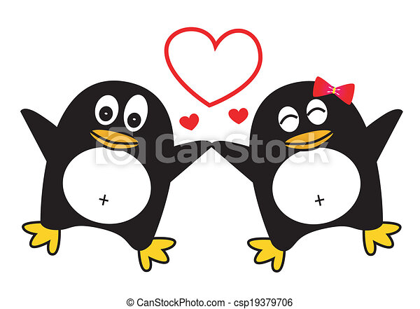 Penguin Couple Drawing Dancing Penguin Couple