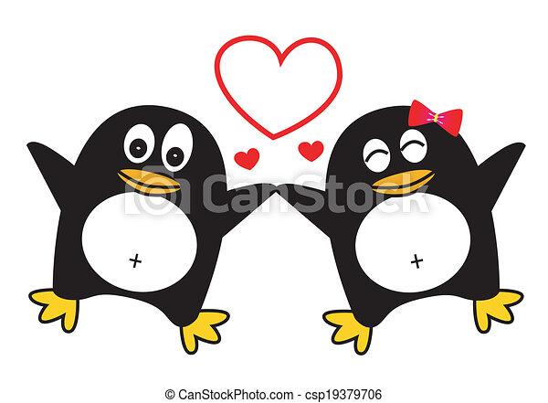 Penguin Couple Drawing Dancing Penguin Couple