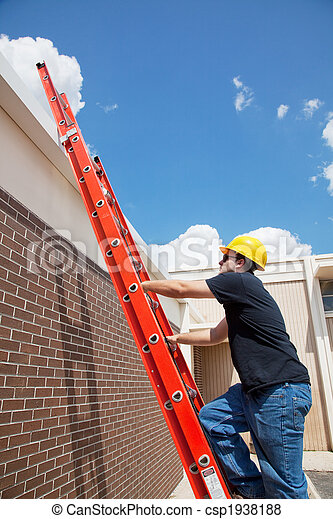 Construction Worker Climbs to Roof - csp1938188