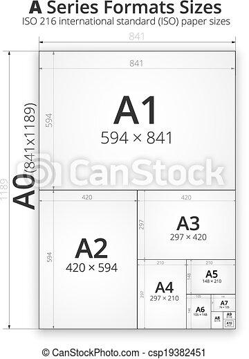Vecteur clipart de taille papier feuilles format for What size paper are blueprints printed on