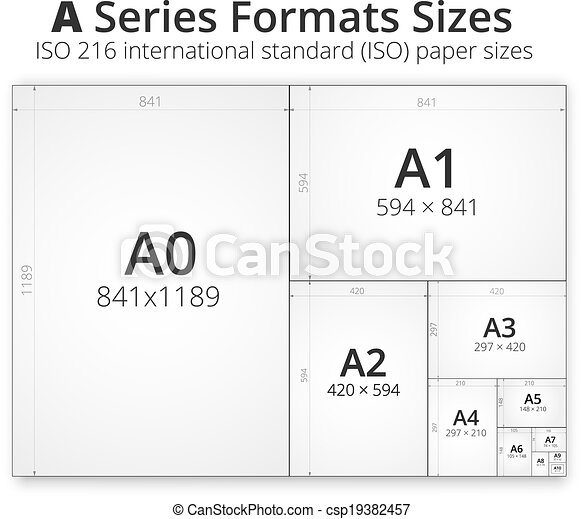 Clipart vectorial de tama o formato un papel hojas for Blueprint paper size