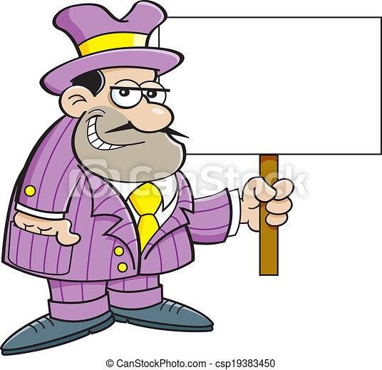 矢量-卡通漫画, 罪犯, 握住, 签署