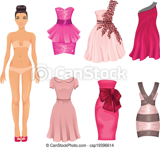 vector clip art of vector dress up doll with pink dresses