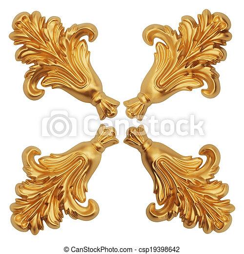 old antique gold frame. - csp19398642