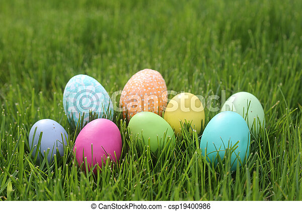 Colorful Easter Eggs Still Life With Natural Light - csp19400986
