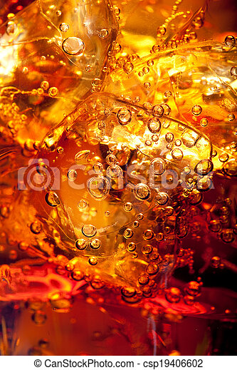 Close up view of the ice cubes in cola  - csp19406602