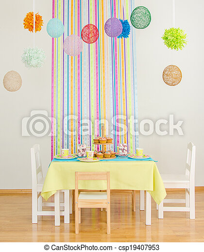 Decorated birthday table with cakes. - csp19407953