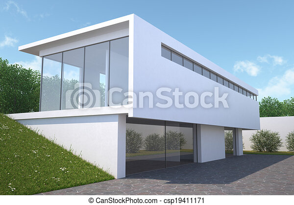 Stock illustrations of modern house with garden exterior for Modern house clipart