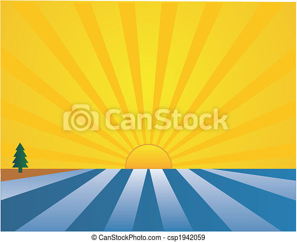 Land to sea sunrise illustration - csp1942059