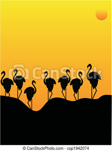 Flocking Flamingos. - csp1942074