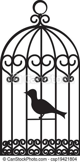 Clipart vecteur de cage oiseau vendange beau oiseau cage oiseau csp19421804 - Dessin oiseau en cage ...