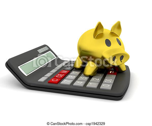 piggy bank and calculator - csp1942329