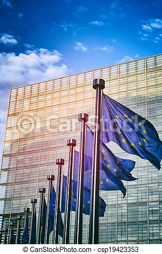 EU flags in front of European Commission in Brussels - csp19423353
