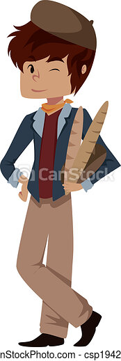 clip art vector of frenchman illustration of a cute