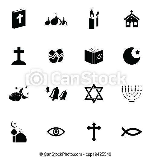Vector black  religion icons set - csp19425540