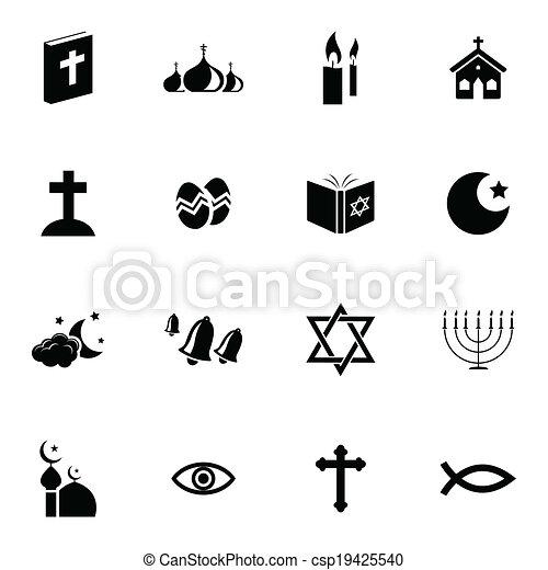Vector black  religion icons set - csp19425540