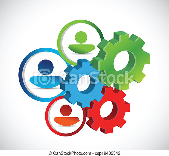 avatars and gears. industrial concept illustration - csp19432542
