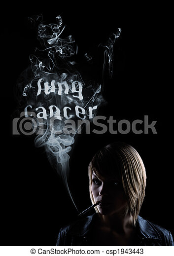 young women smokes and in the smoke appears  - csp1943443
