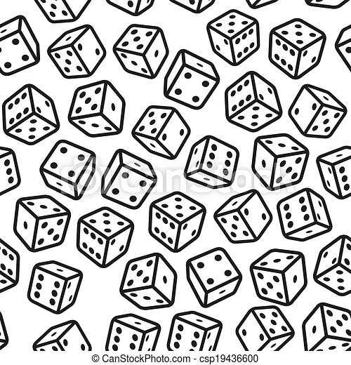 Gambling Dices Seamless Pattern on White Background. Vector - csp19436600
