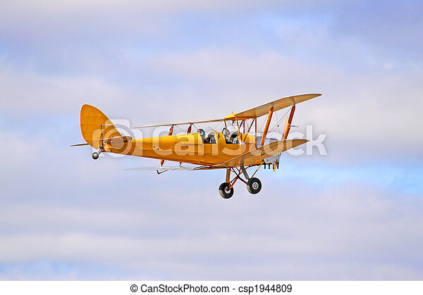 1942 Yellow DH82 Tiger Moth Bi-plane. Gipsy Major - Four cylinder inline engine. - csp1944809