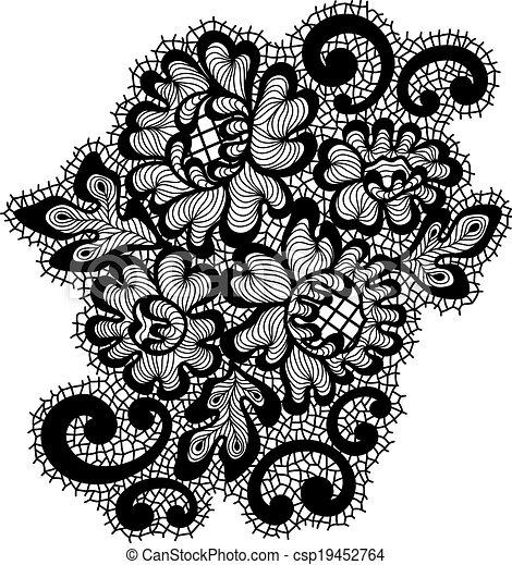 Clip Art Vector Of Black Lace Ornament
