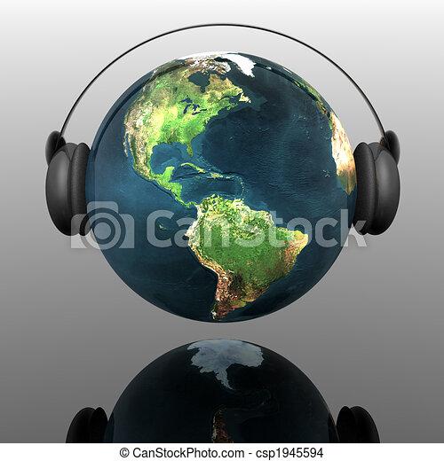 Música, tierra, globo, auriculares - csp1945594