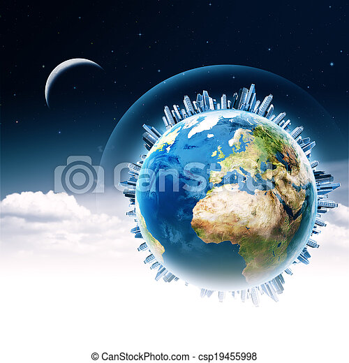Global communications. Abstract technology and transportation backgrounds - csp19455998