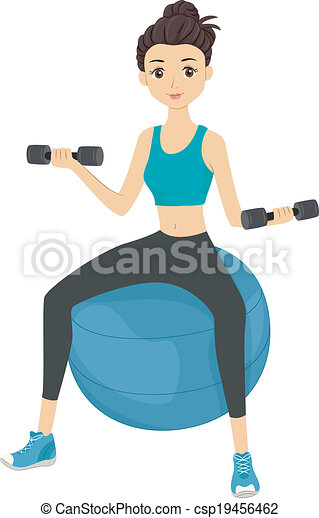 clip art vector of workout girl illustration of a girl Brain Lifting Weights Clip Art Brain Lifting Weights Clip Art
