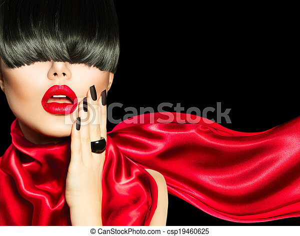 High Fashion Girl with Trendy Hairstyle, Makeup and Manicure - csp19460625