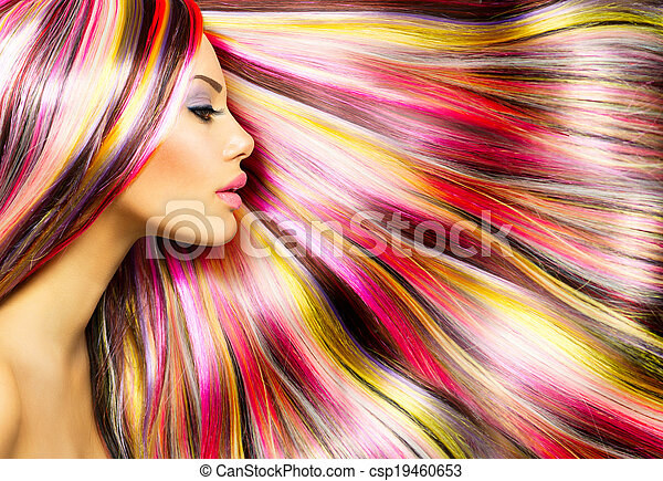 Beauty Fashion Model Girl with Colorful Dyed Hair - csp19460653