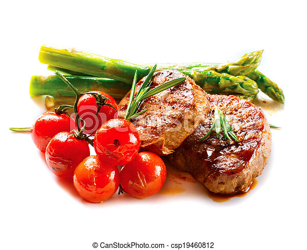 BBQ Steak. Barbecue Grilled Beef Steak Meat with Vegetables - csp19460812