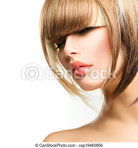 Beautiful Fashion Woman Hairstyle for Short Hair. Fringe Haircut - csp19460856
